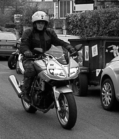 Jayne on her Suzuki SV650